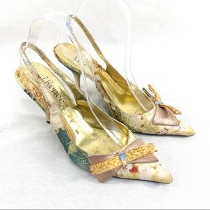 J Renee Gold Bow Tapestry Slingback Sexy Heel 8.5